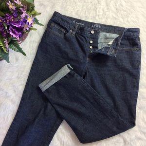 LOFT Boyfriend Fit Dark Wash Button Fly Jeans
